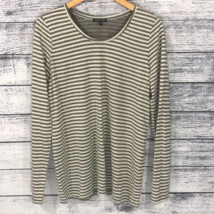 Eileen Fisher Gray Stripped Long Sleeve Shirt XL